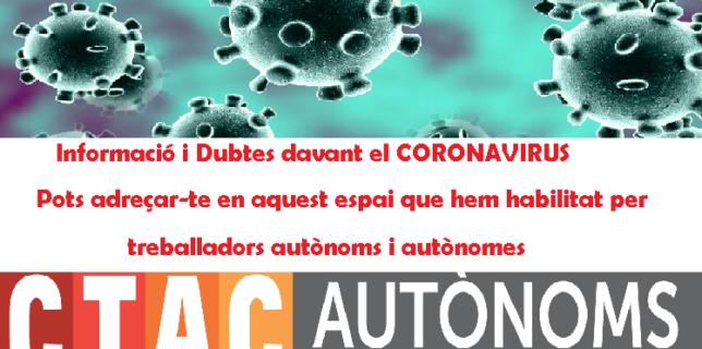 CTAC AUTÔNOMS – FAQS Informació i Dubtes davant el CORONAVIRUS actualitzat 18/03/2020