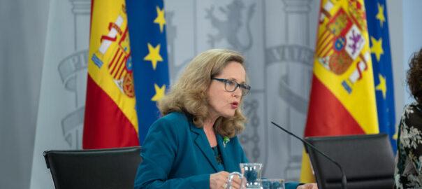 La vicepresidenta econòmica, Nadia Calviño, durant la roda de premsa posterior al Consell de Ministres d'aquest 28 de juliol del 2020. (Horitzontal)