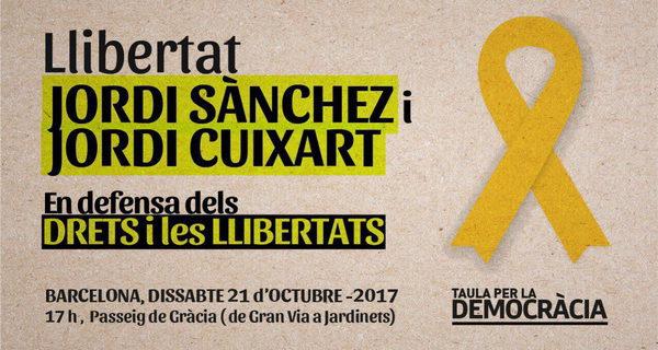 La Taula per la Democràcia convoca una manifestació dissabte a la tarda a Barcelona 'En defensa dels drets i les llibertats