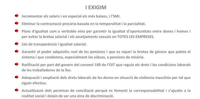 La UGT fa una crida a sumar-se a la vaga del 8 de març, per la igualtat laboral