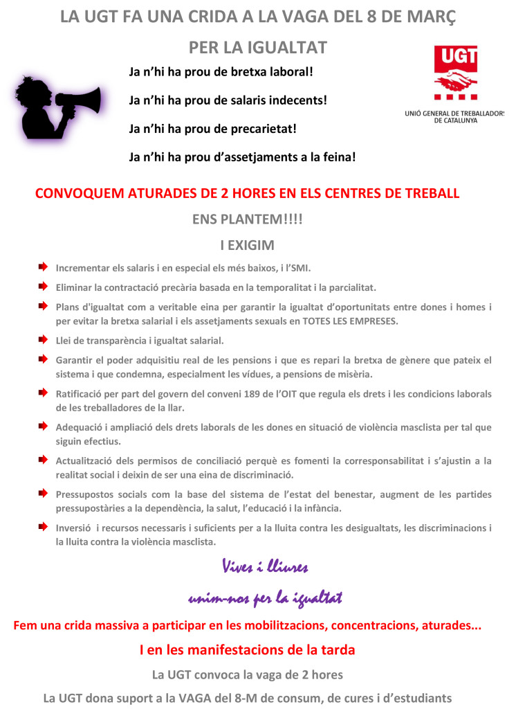 MANIFEST UGT CONVOCATÒRIA DE VAGA 8 DE MARÇ