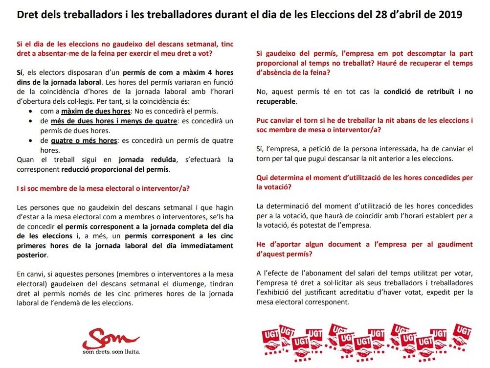 Dret dels treballadors i les treballadores el dia de les eleccions generals del 28 d'abril