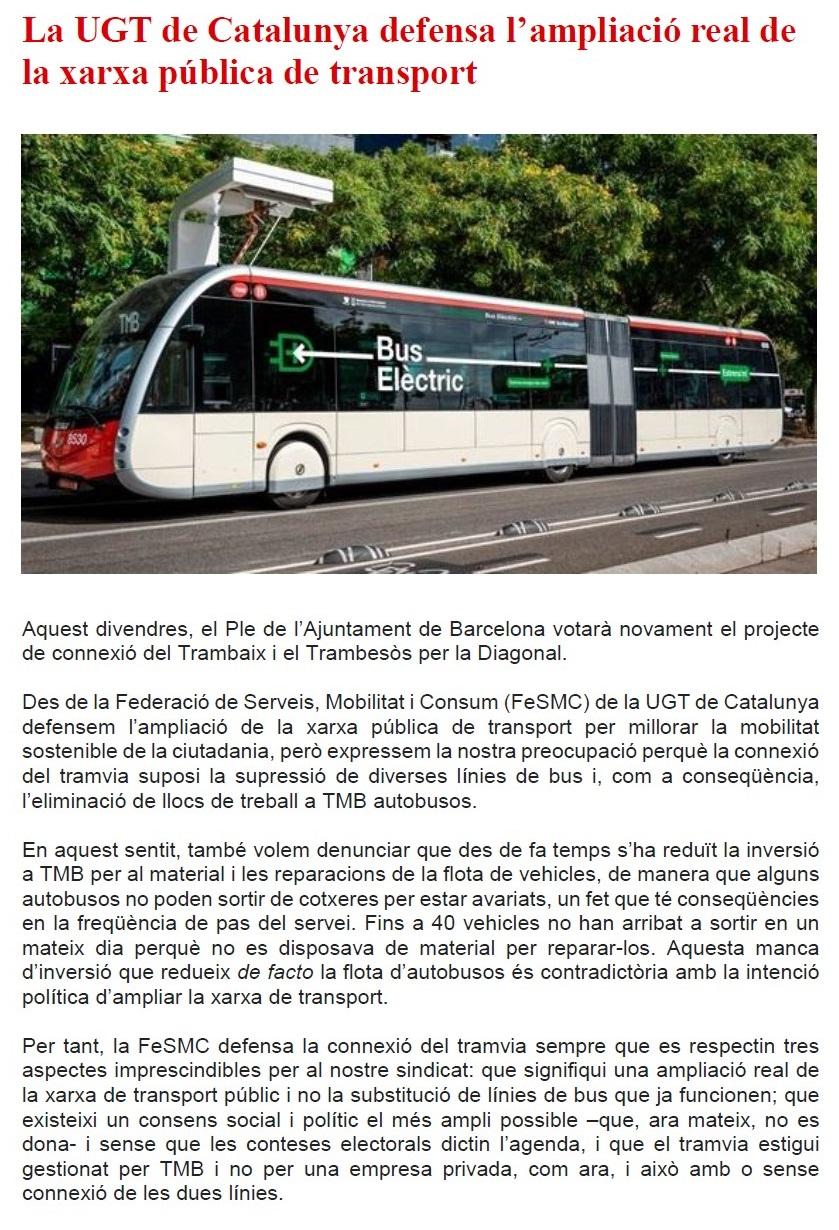 La UGT de Catalunya defensa l'ampliació real de la xarxa pública de transport