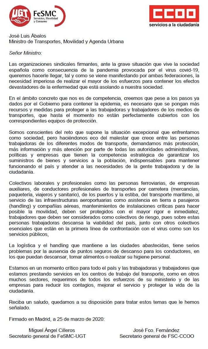 Carta a Abalos de UGT y CCOO