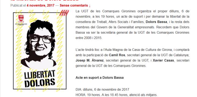 La UGT de les Comarques Gironines organitza un acte en suport i per la llibertat de Dolors Bassa